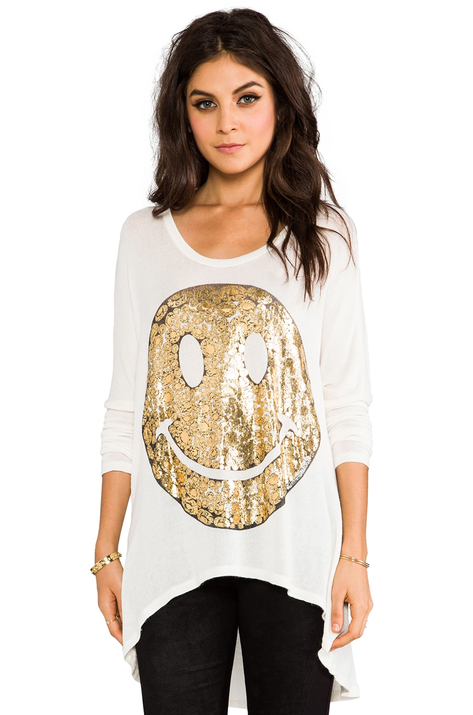 Lauren Moshi Reagan Foil Happyface Sweater in Natural