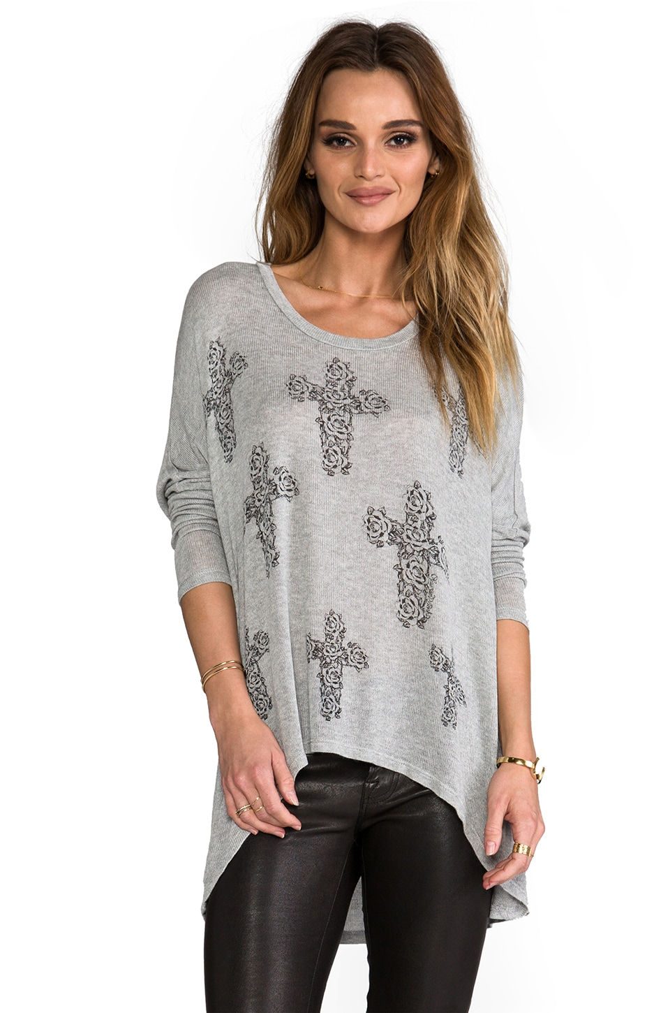 Lauren Moshi ReaganMini Rose Cross Sweater in Heather Grey