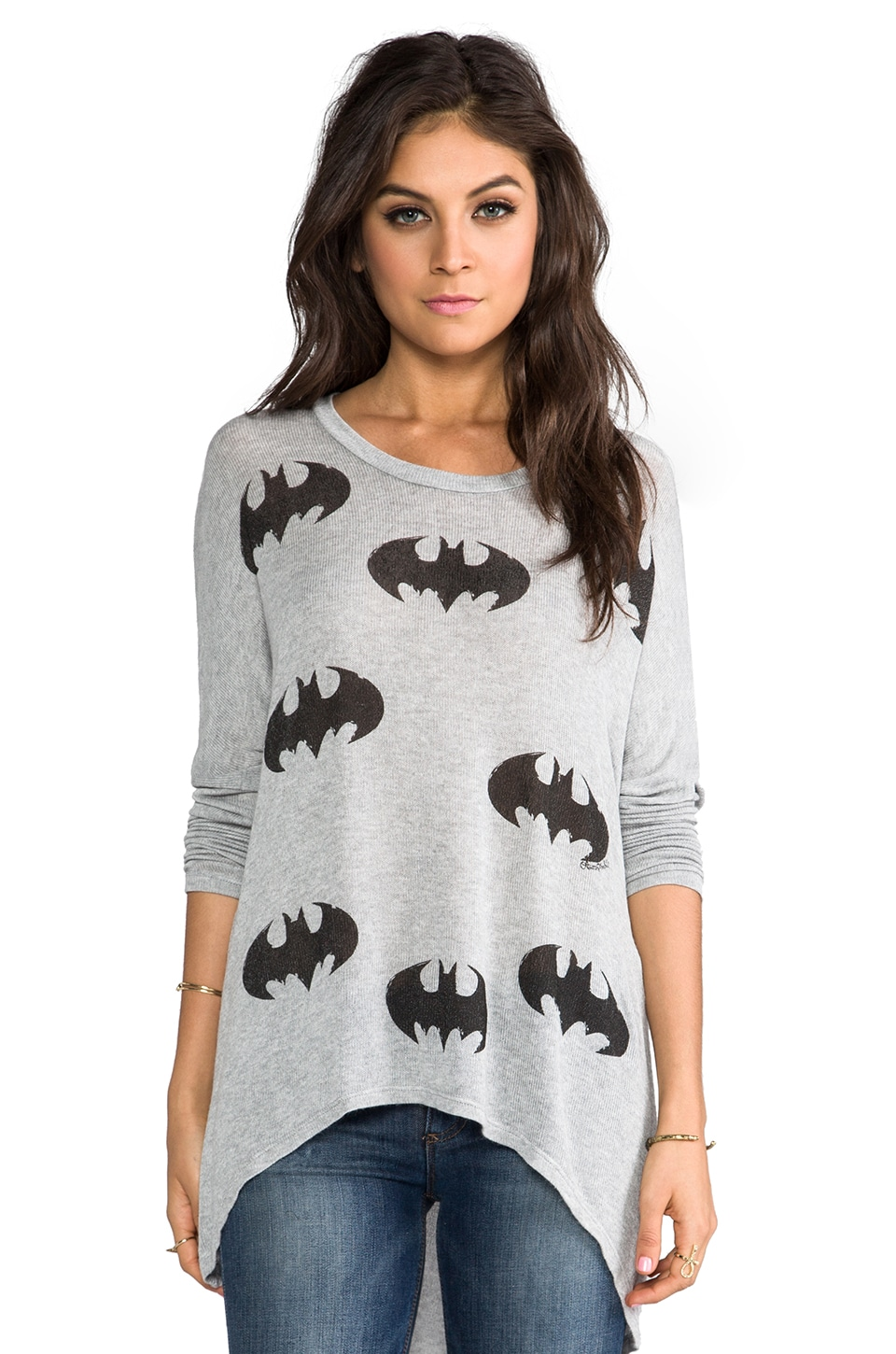 Lauren Moshi Deb Mini Batman Asymmetrical Sweater in Heather Grey
