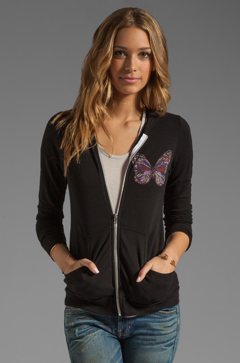 Lauren Moshi Candy Color Butterfly Hoodie in Black