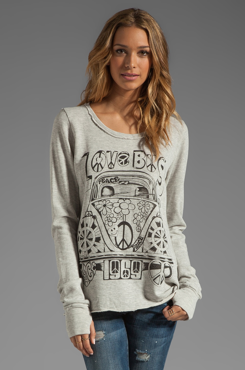 Lauren Moshi Kallie Love Bug Thumb Hole Sweatshirt in Heather Grey