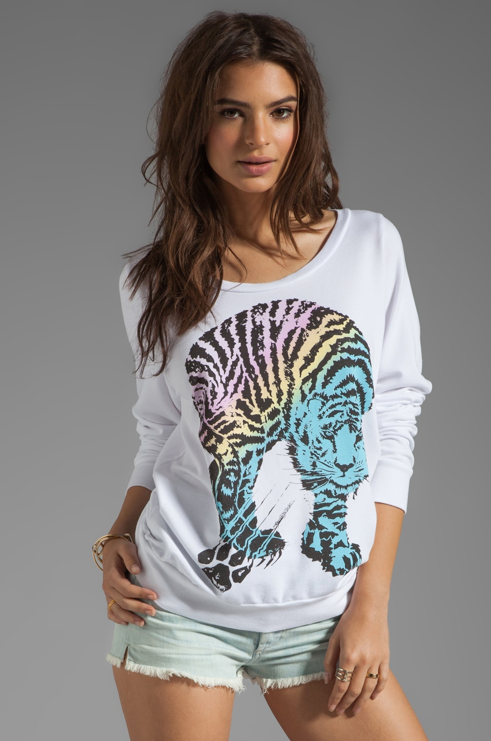 Lauren Moshi Jet Color Tiger Sweatshirt in White