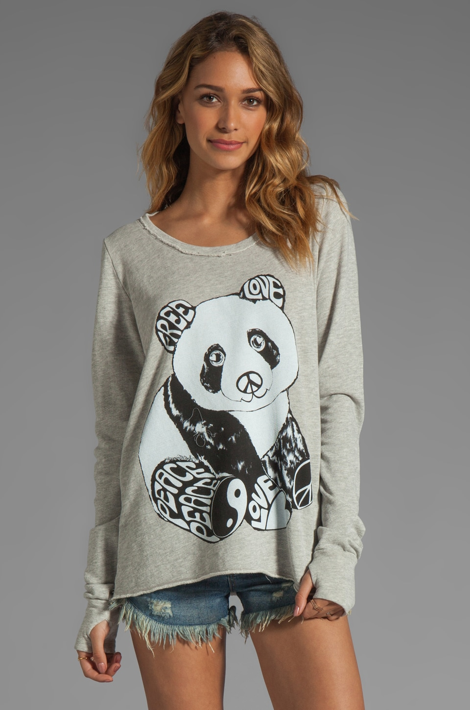 Lauren Moshi Kallie Color Luv Panda Thumb Hole Sweatshirt in Heather Grey