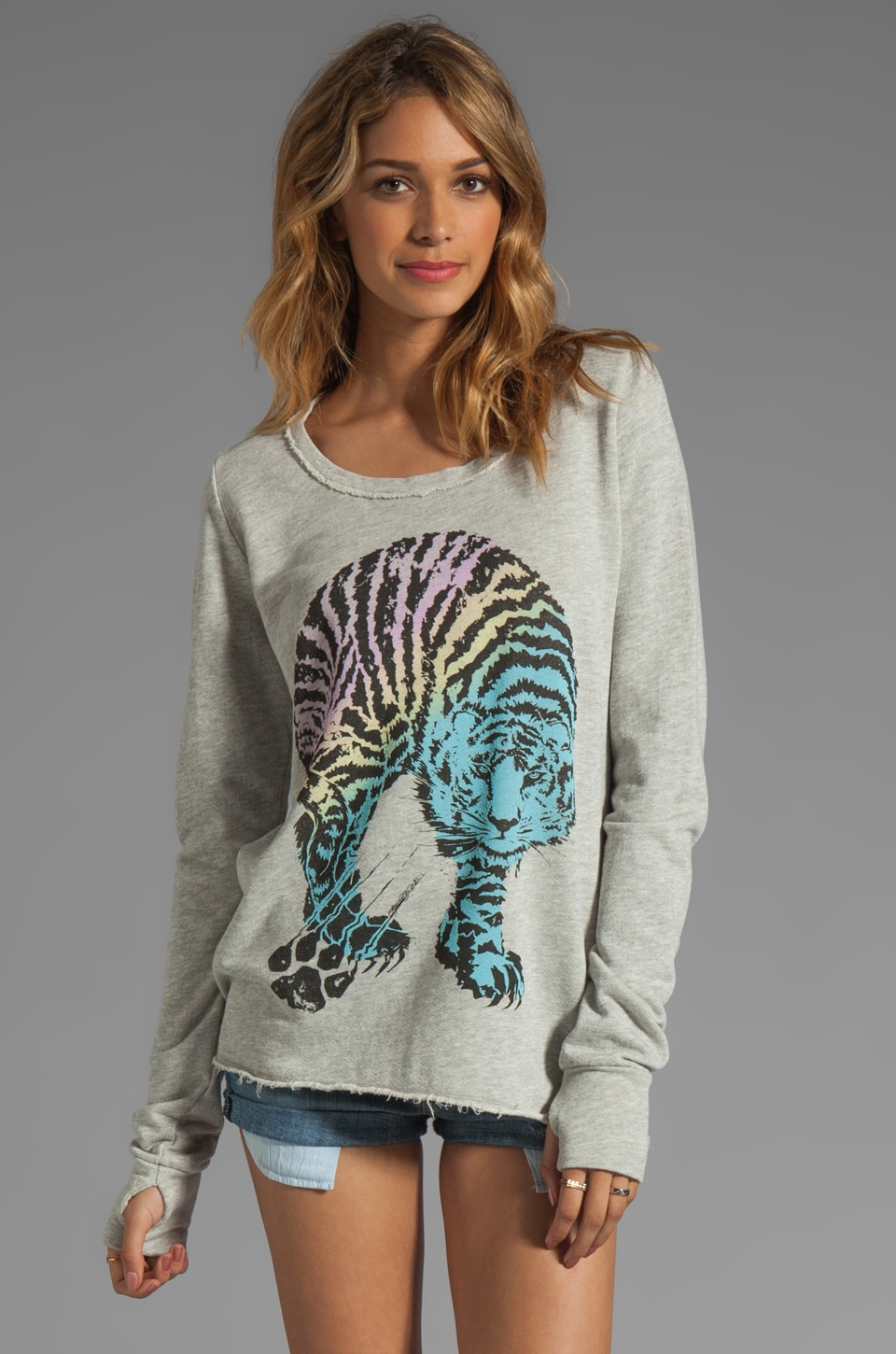 Lauren Moshi Kallie Color Tiger Thumb Hole Sweatshirt in Heather Grey