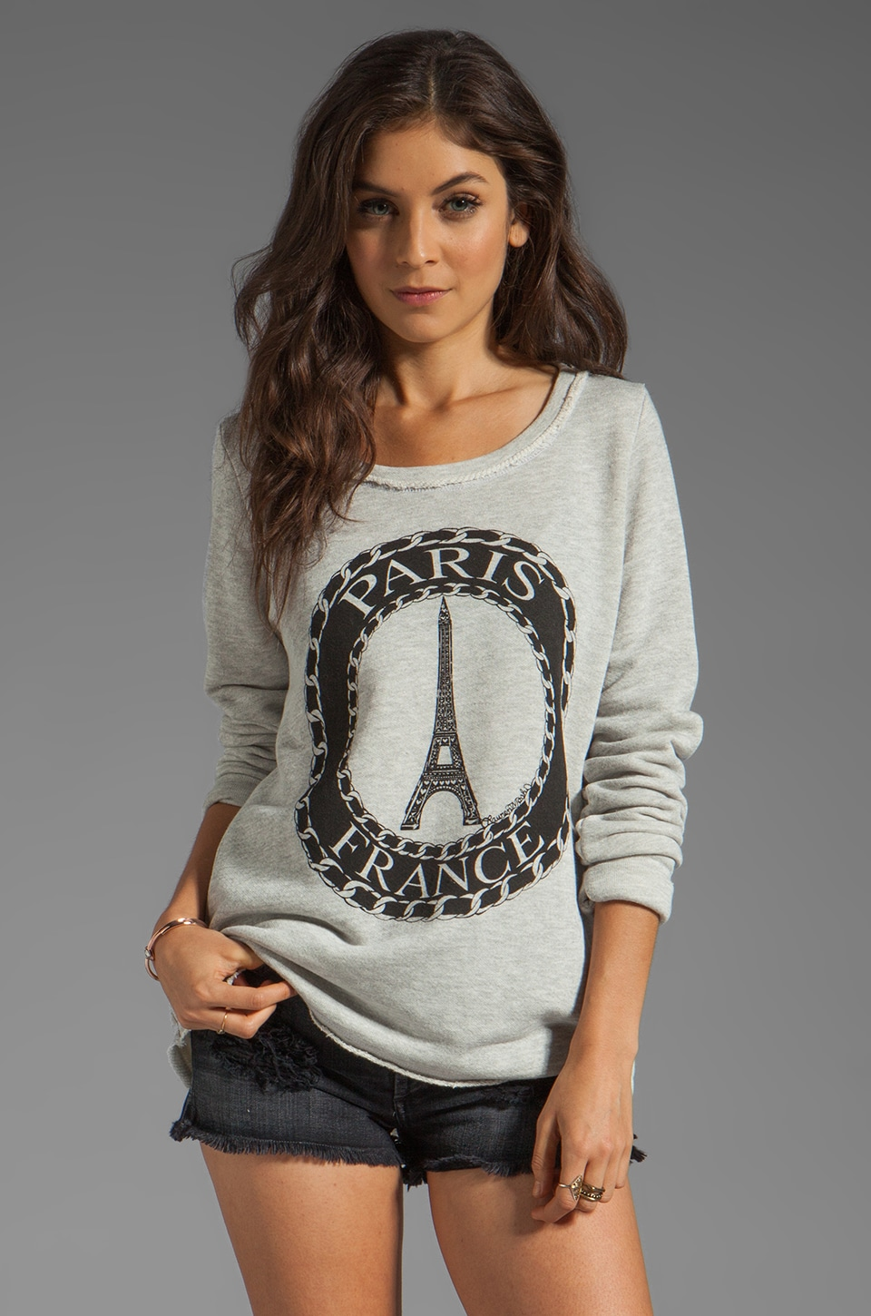 Lauren Moshi Kallie Paris Thumb Hole Sweatshirt in Heather Grey