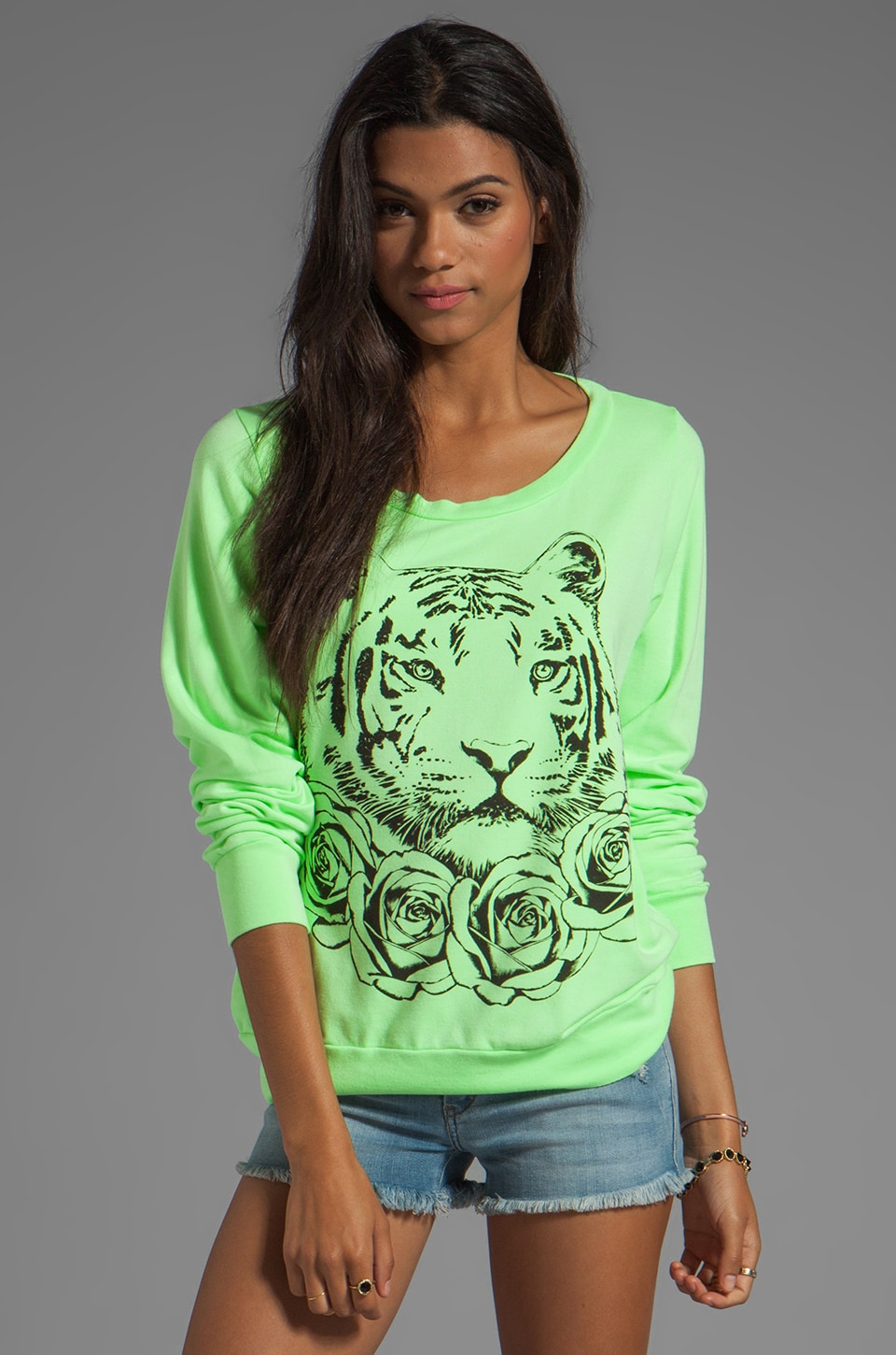 Lauren Moshi Jet Rose Tiger Sweatshirt in Citrus Lime