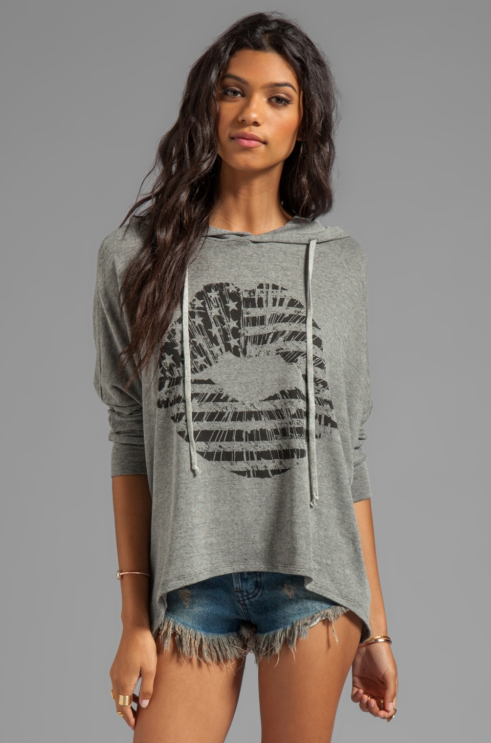 Lauren Moshi Rhonda Flag Lip Oversized Cape Hoodie in Grey