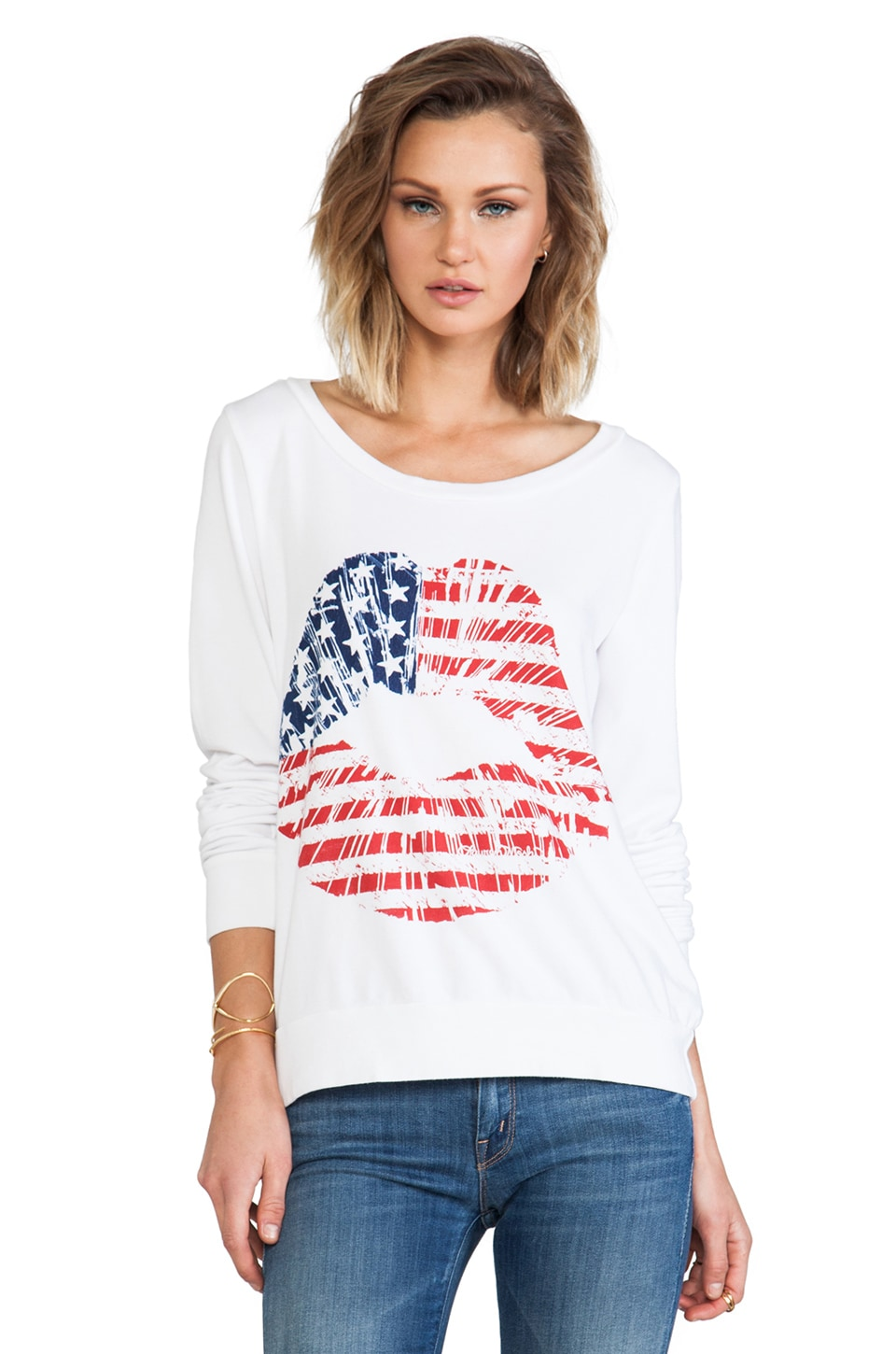 Lauren Moshi Jet Color Flag Lip Sweatshirt in White
