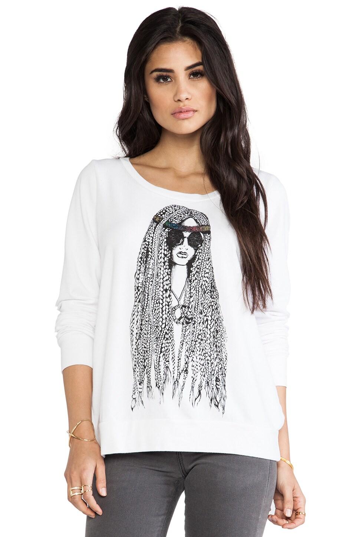 Lauren Moshi Jet Foil Hippie Pullover Sweatshirt in White