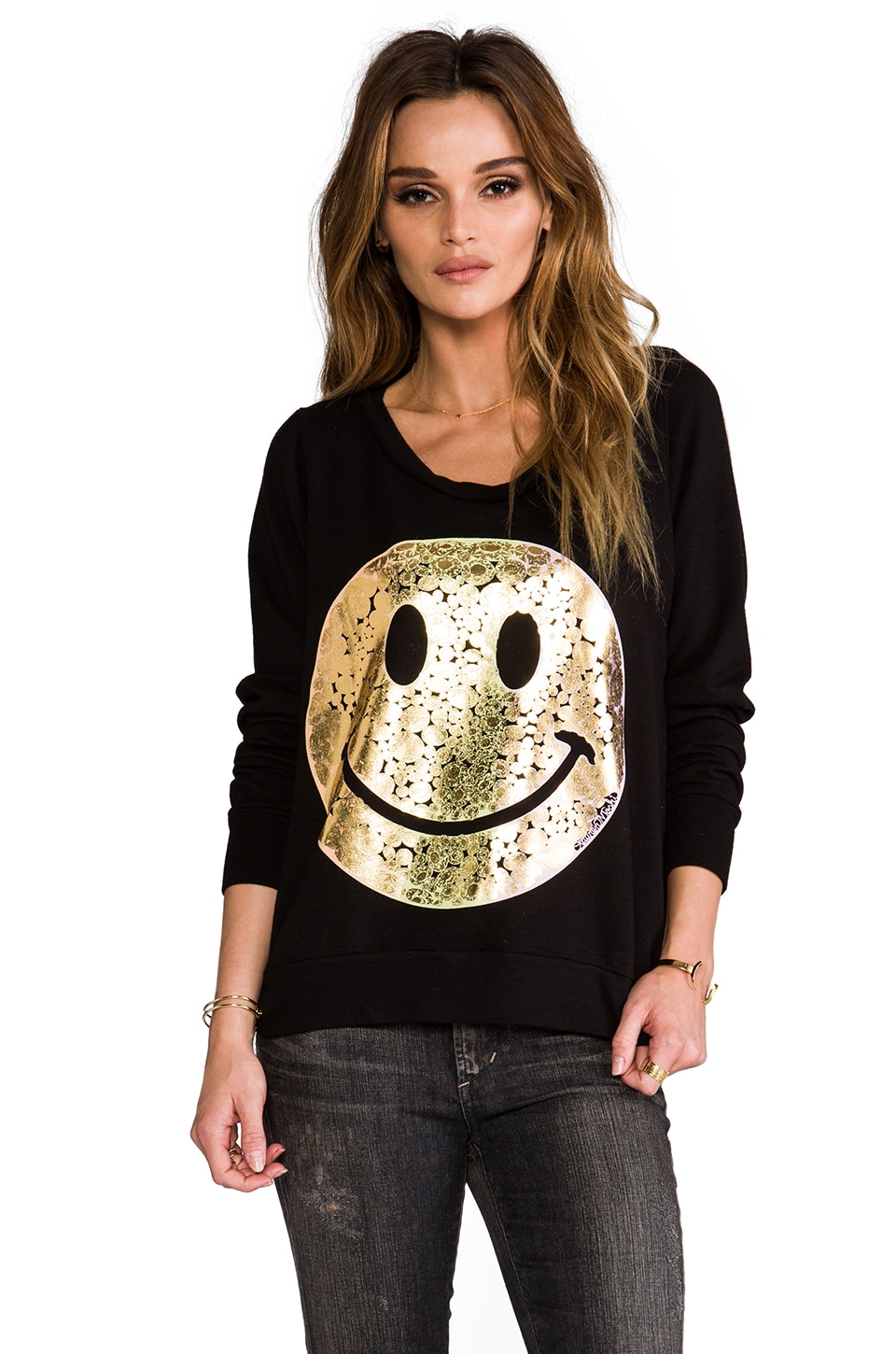 Lauren Moshi Jet Foil Diamond Happyface Sweatshirt in Black