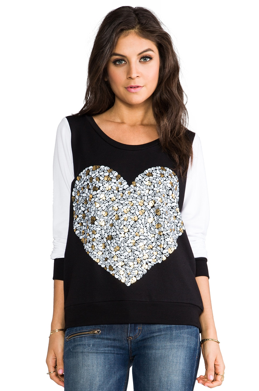 Lauren Moshi Jet Foil Mini Skull Heart Pullover Sweatshirt in Black/White