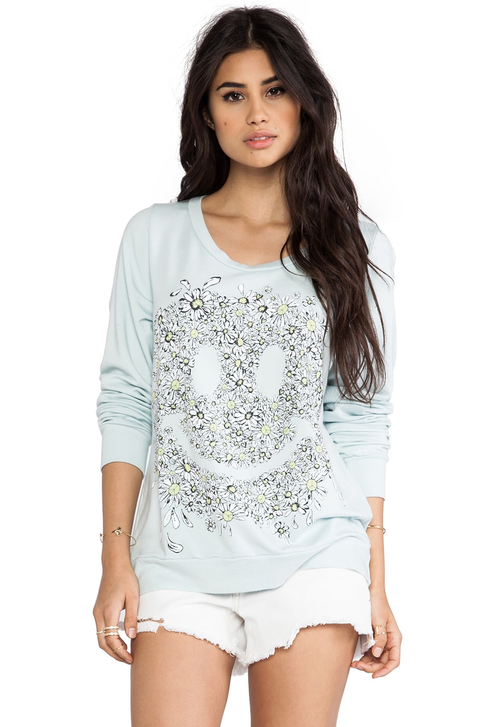 Lauren Moshi Jet Daisy Face Sweatshirt in Mint
