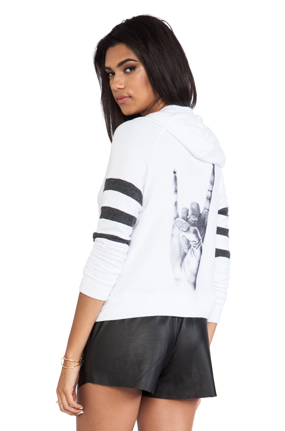 Lauren Moshi Lena Rock Hand Hoodie in White & Black