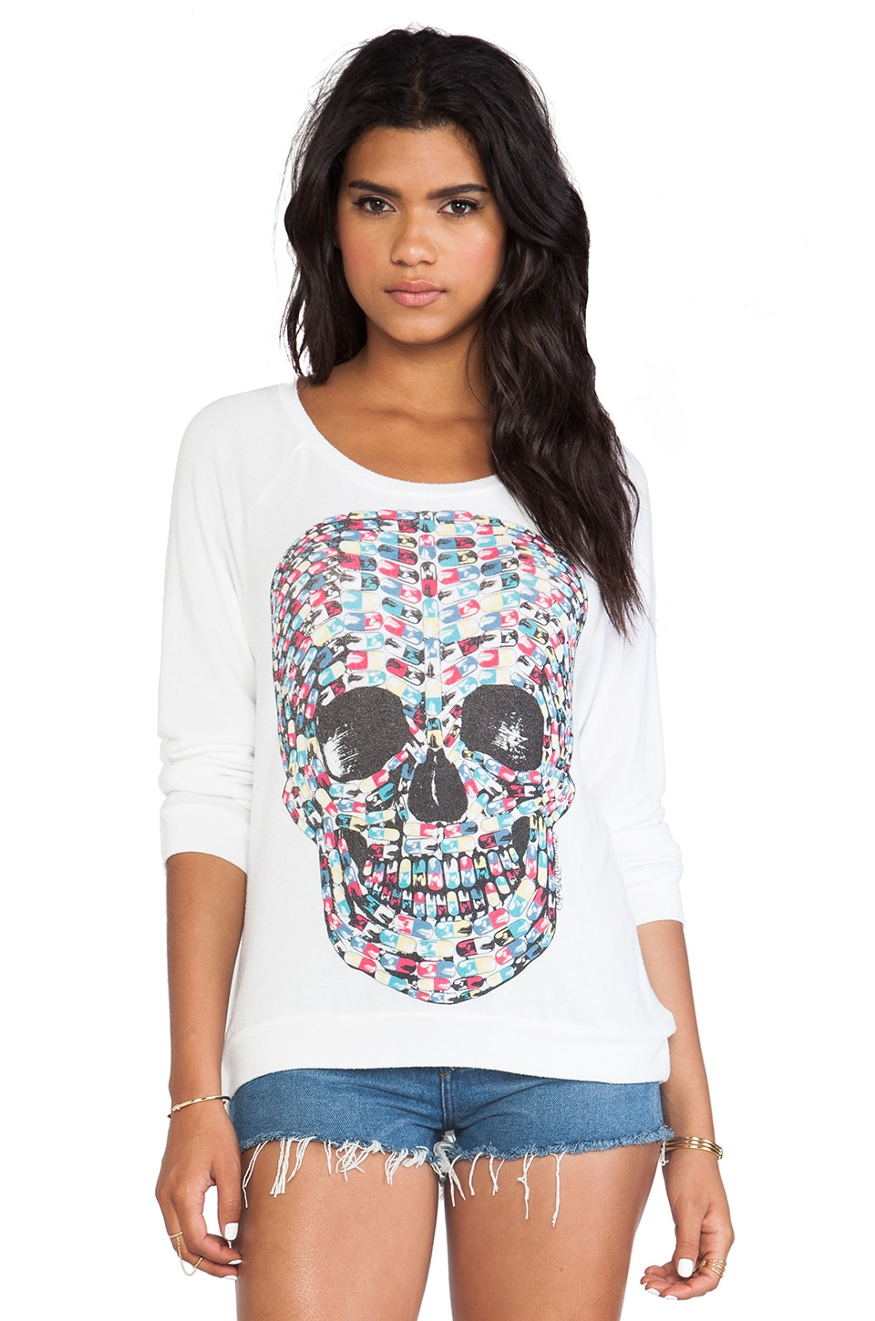 Lauren Moshi Brenna Color Pill Skull Pullover in White