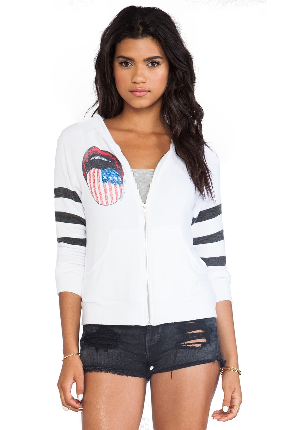 Lauren Moshi Lena Color Flag Tongue Zip Up Hoodie in White & Black