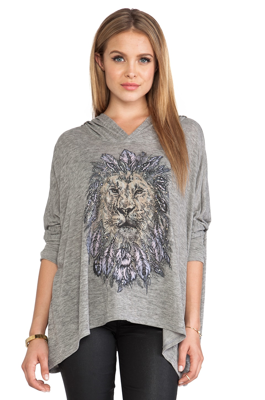 Lauren Moshi Wilma Feather Lion Hoodie in Olive
