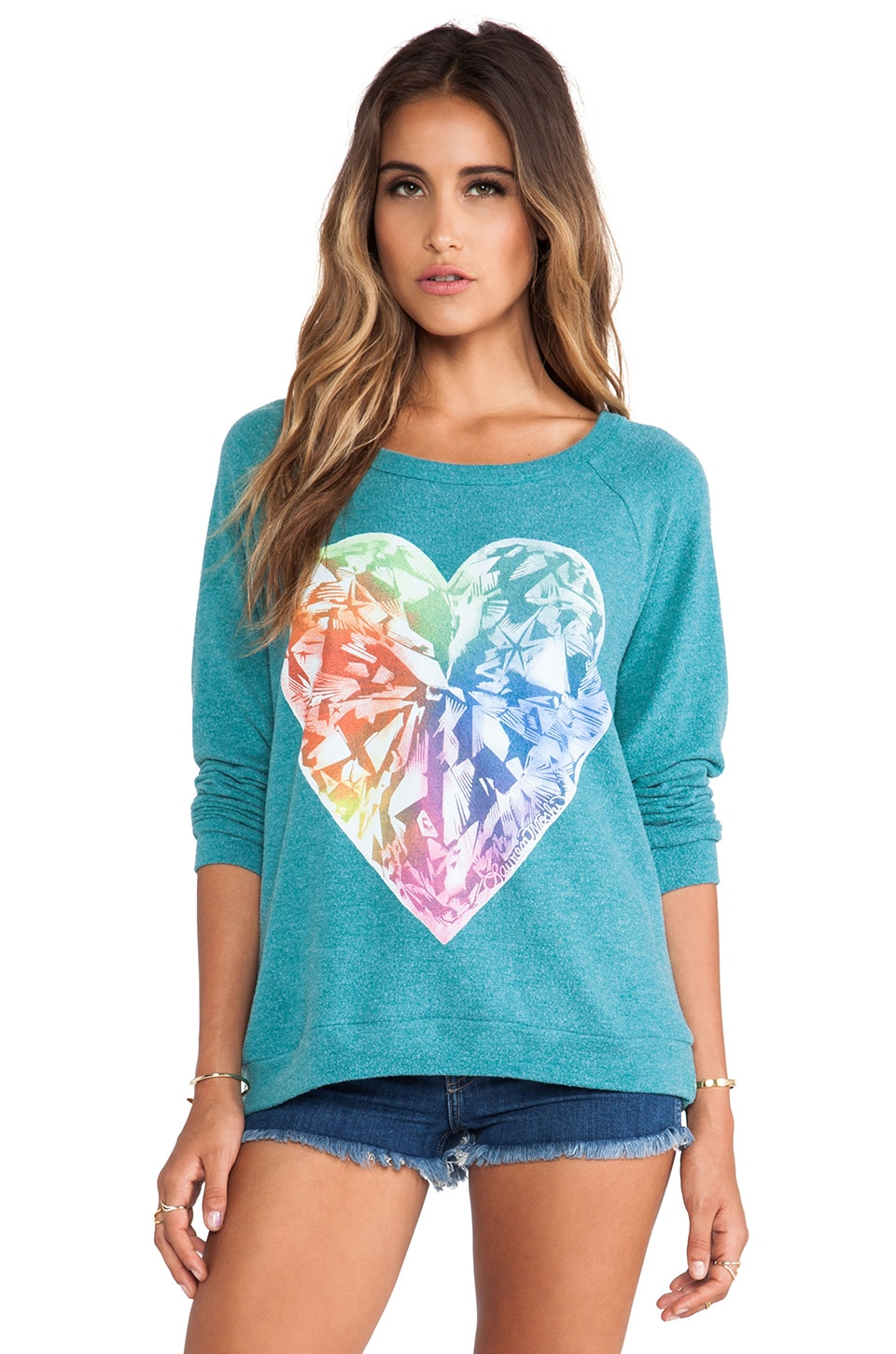 Lauren Moshi Brenna Bright Diamond Heart Pullover in Dark Teal