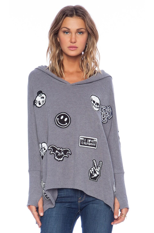 Lauren Moshi Wilma Oversized Pullover with Hood in Asphalt