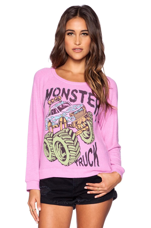 Lauren Moshi Neon Monster Truck Brenna Sweatshirt in Pink Shortcake