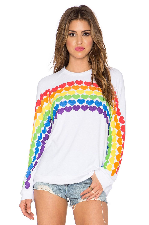 Lauren Moshi Lovie Rainbow Heart Boyfriend Sweatshirt in White