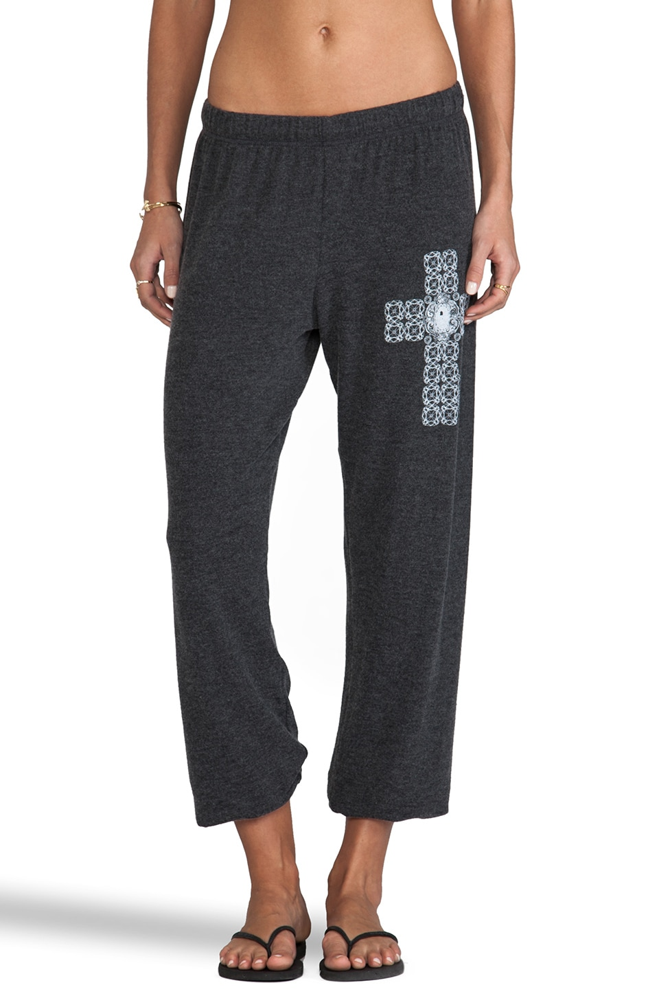 Lauren Moshi Tansy Small Diamond Cross Sweatpants in Black
