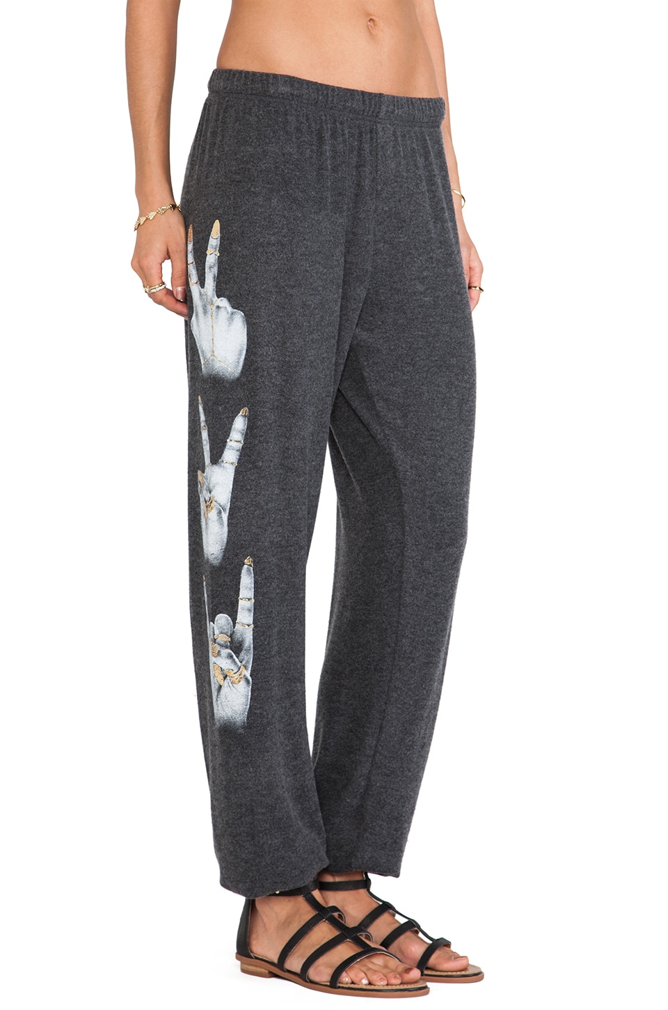 Lauren Moshi Tanzy Foil 3 Hand Signs Pant in Black