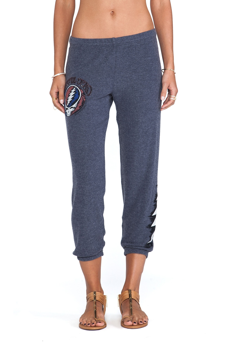 Lauren Moshi Alana Grateful Dead Crop Sweatpant in Navy
