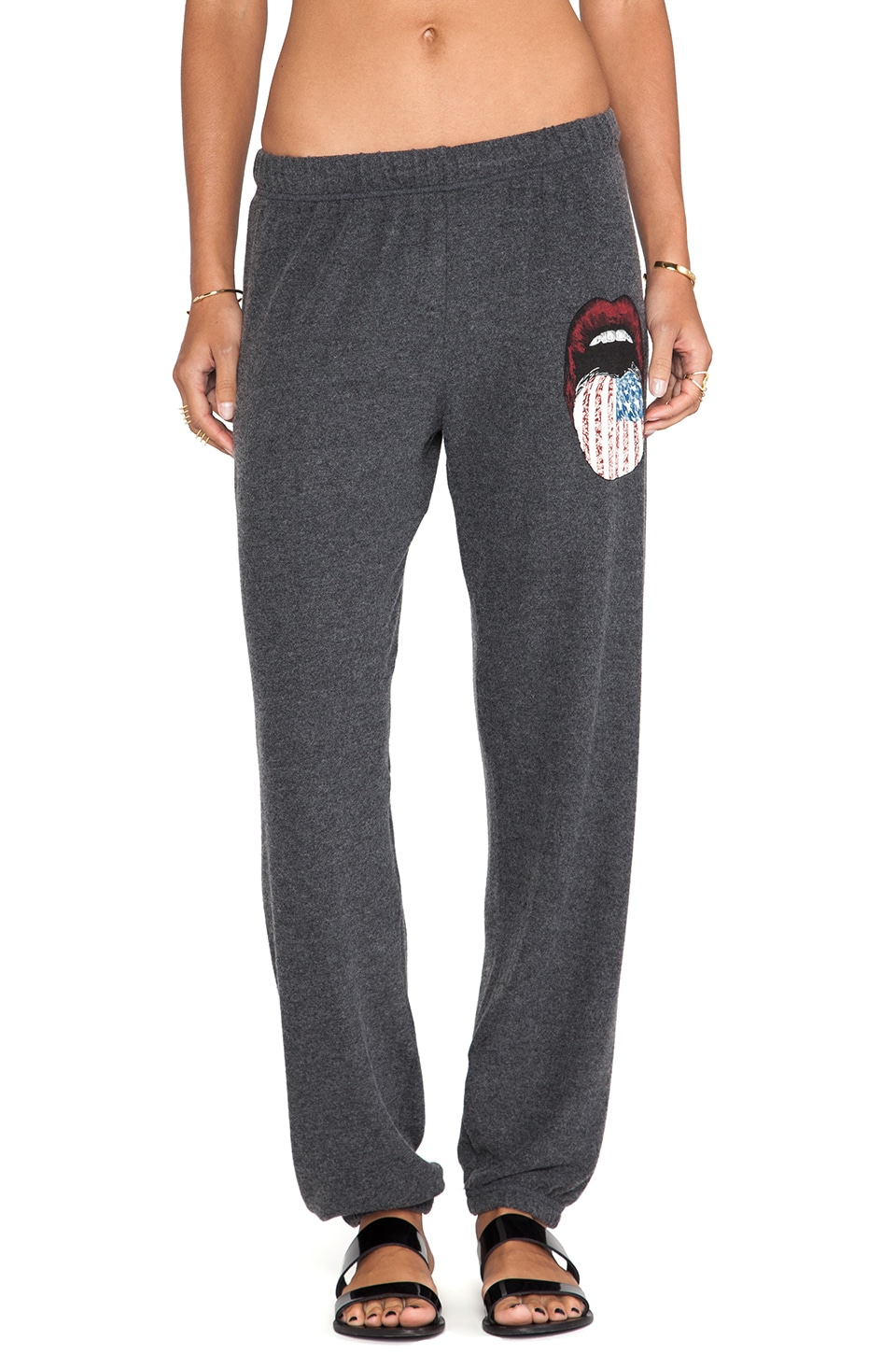 Lauren Moshi Tanzy Small Color Flag Tongue Sweatpants in Black