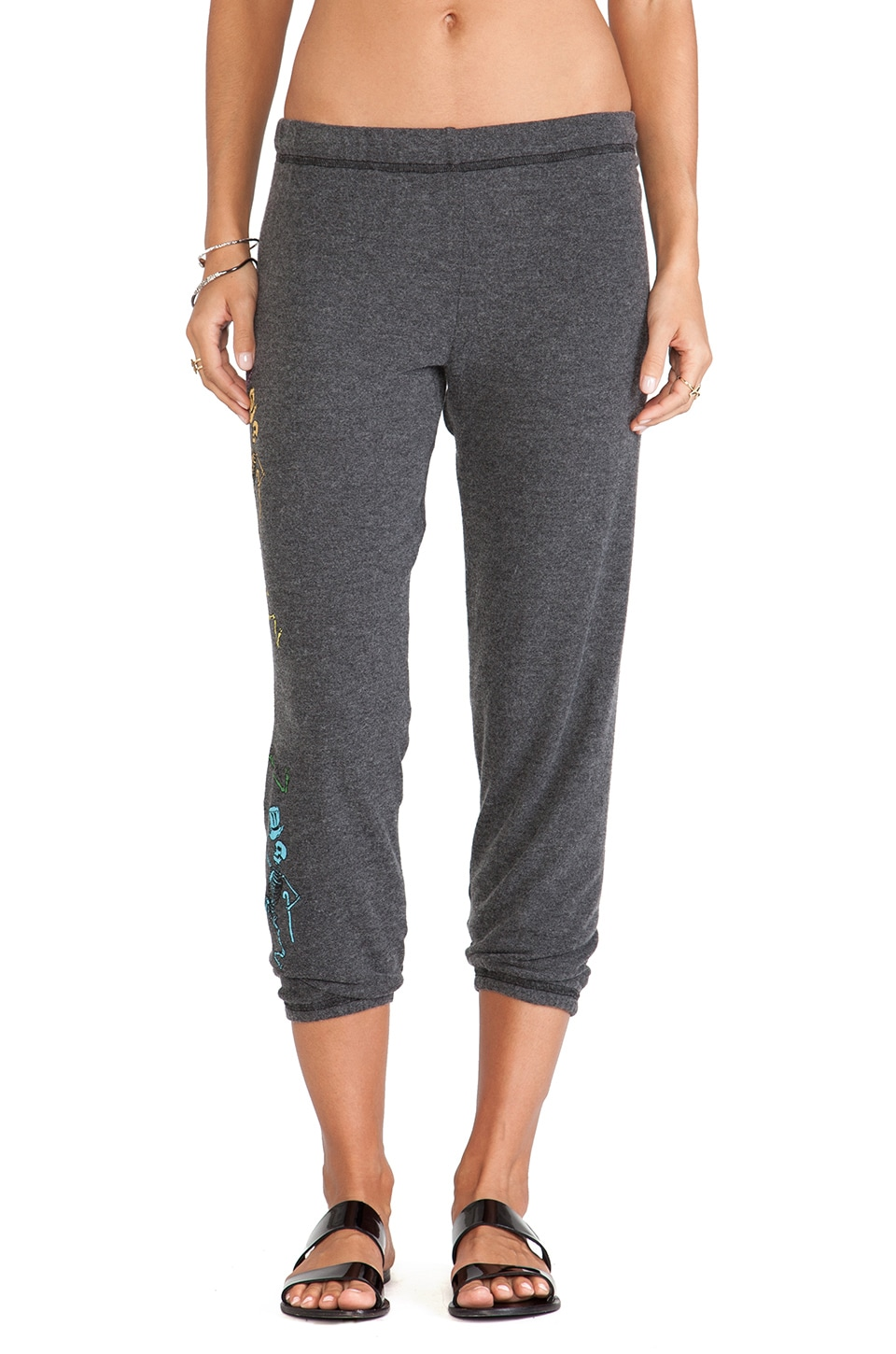 Lauren Moshi Alana Grateful Dead Skeleton Leg Sweatpants in Black