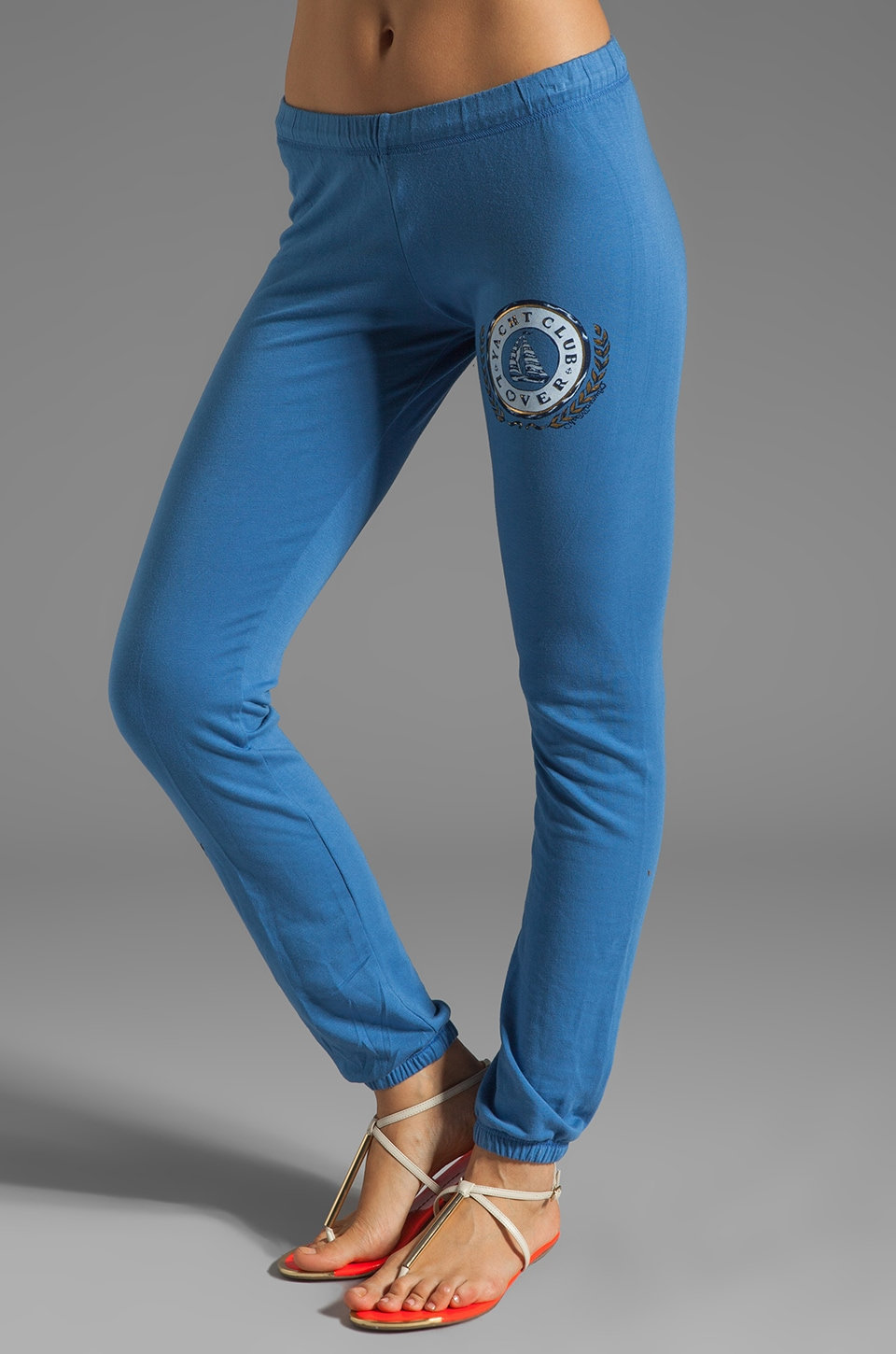 Lauren Moshi Demi Color Yacht Club Leg Sweatpants in Denim