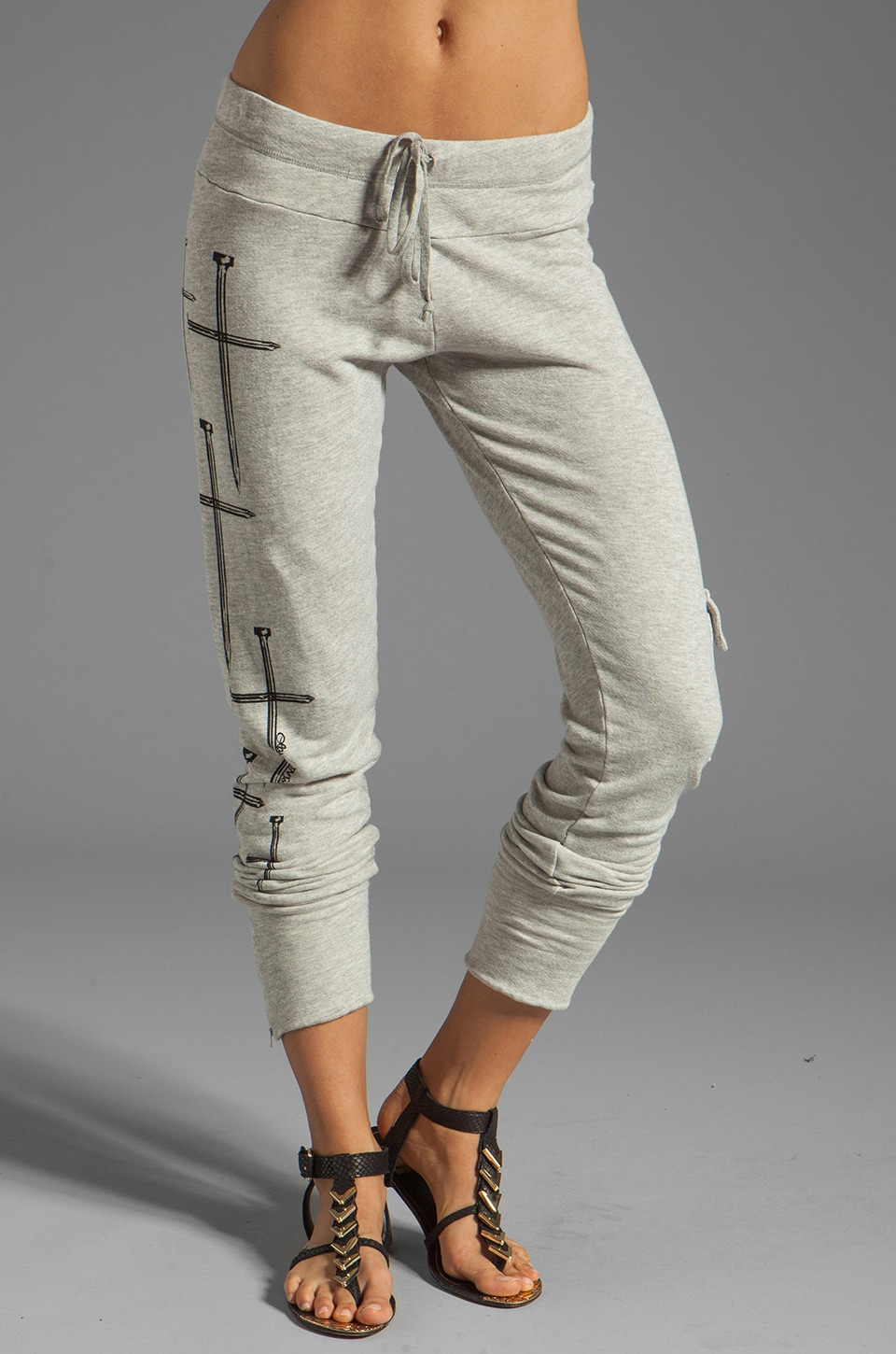 Lauren Moshi Darcy Mini Crosses Leg Cargo Pant in Heather Grey