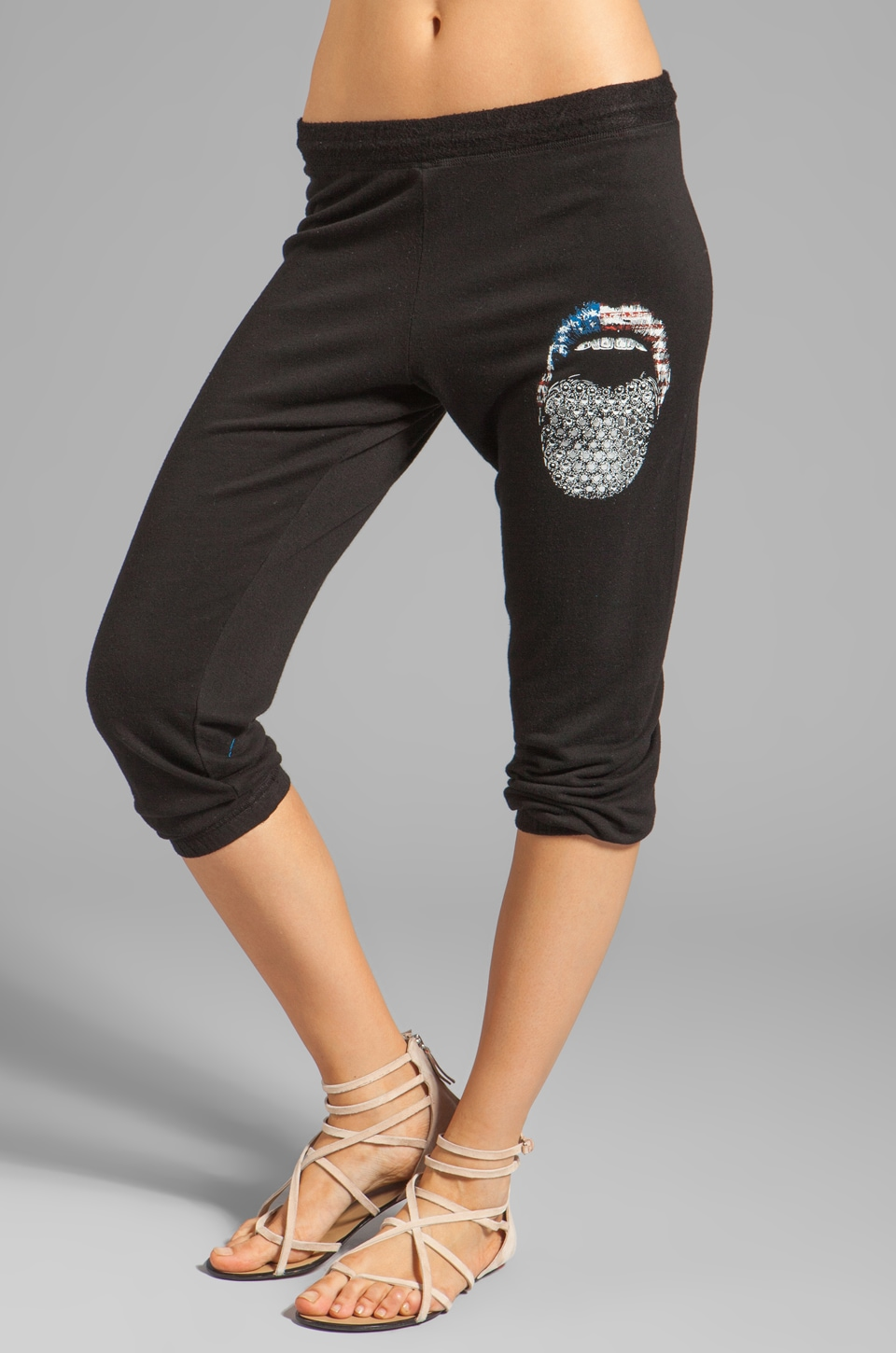 Lauren Moshi Birdy Color Flag Diamond Tongue Sweatpant in Black