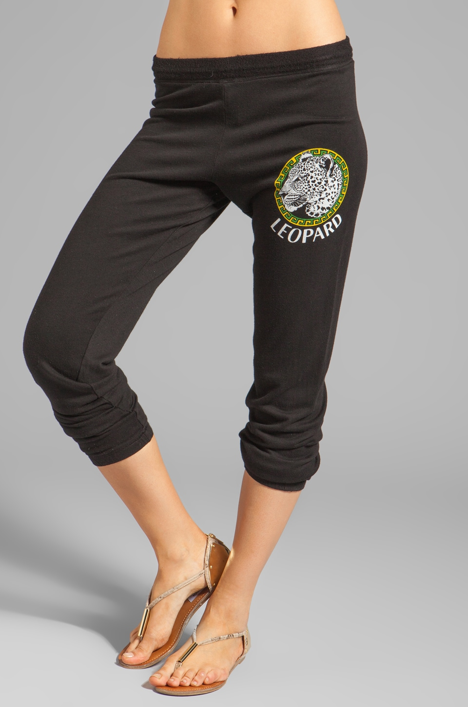 Lauren Moshi Dina Color Leopard Medallion Sweatpant in Black