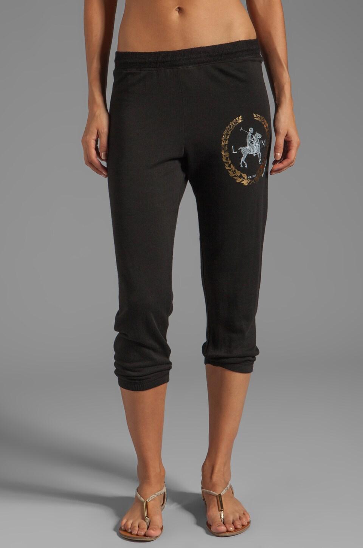Lauren Moshi Birdy Foil LM Crest Crop Sweat Pant in Black