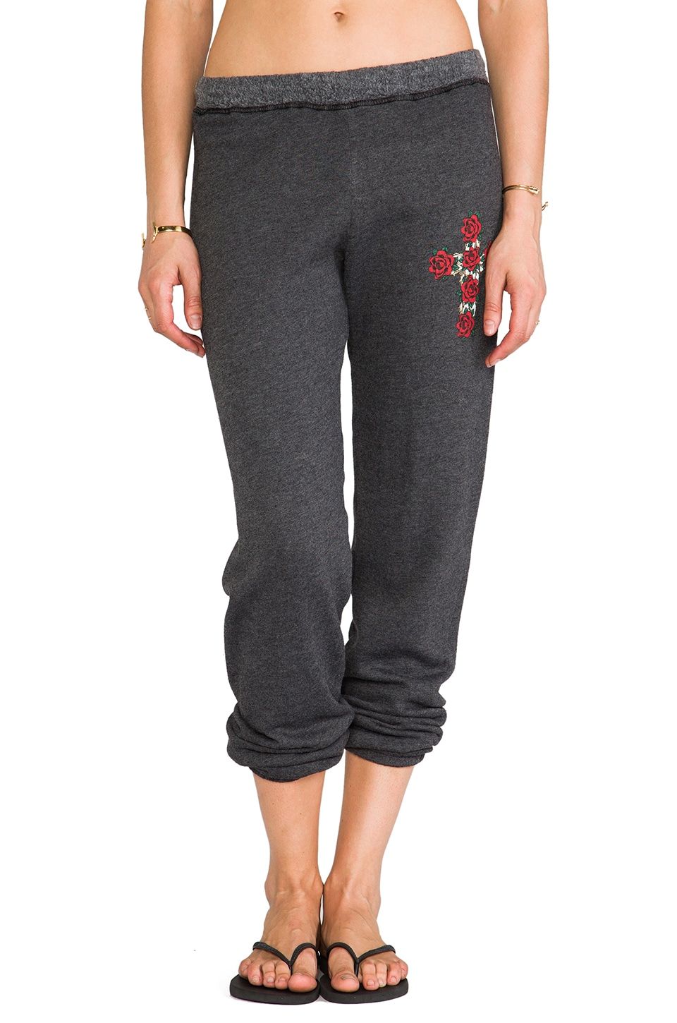 Lauren Moshi Gia Rose Cross Long Sweat Pant in Black