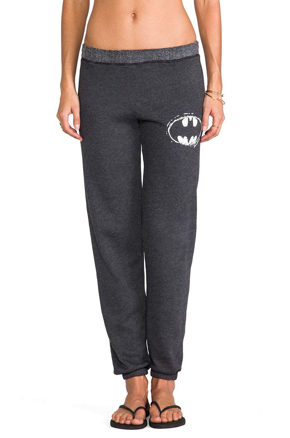 Lauren Moshi Gia Small Batman Long Sweat Pant in Black