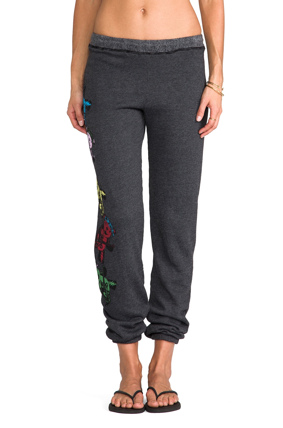 Lauren Moshi Gia Color Swirl Bears Long Sweat Pant in Black