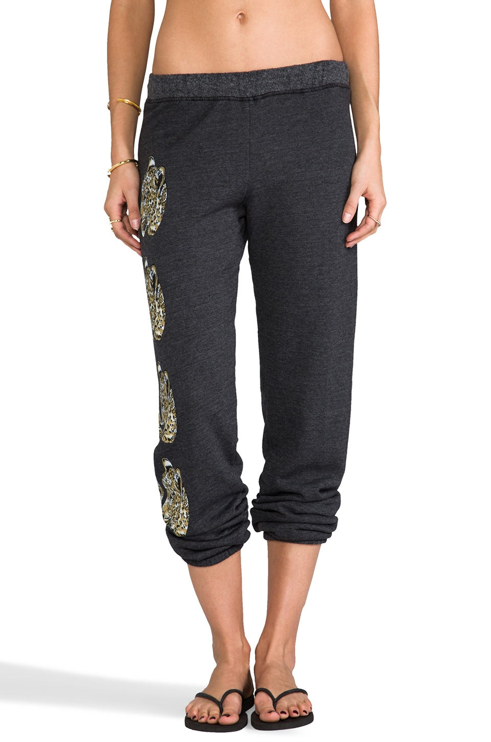 Lauren Moshi Gia Color Mirror Leopards Leg Sweatpants in Black
