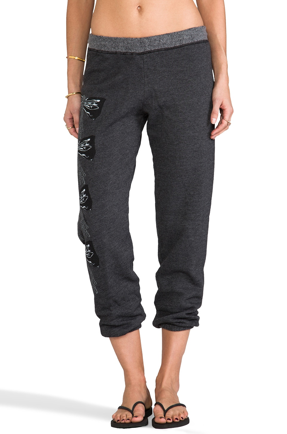 Lauren Moshi Gia Color Chain Bow Leg Sweatpants in Black