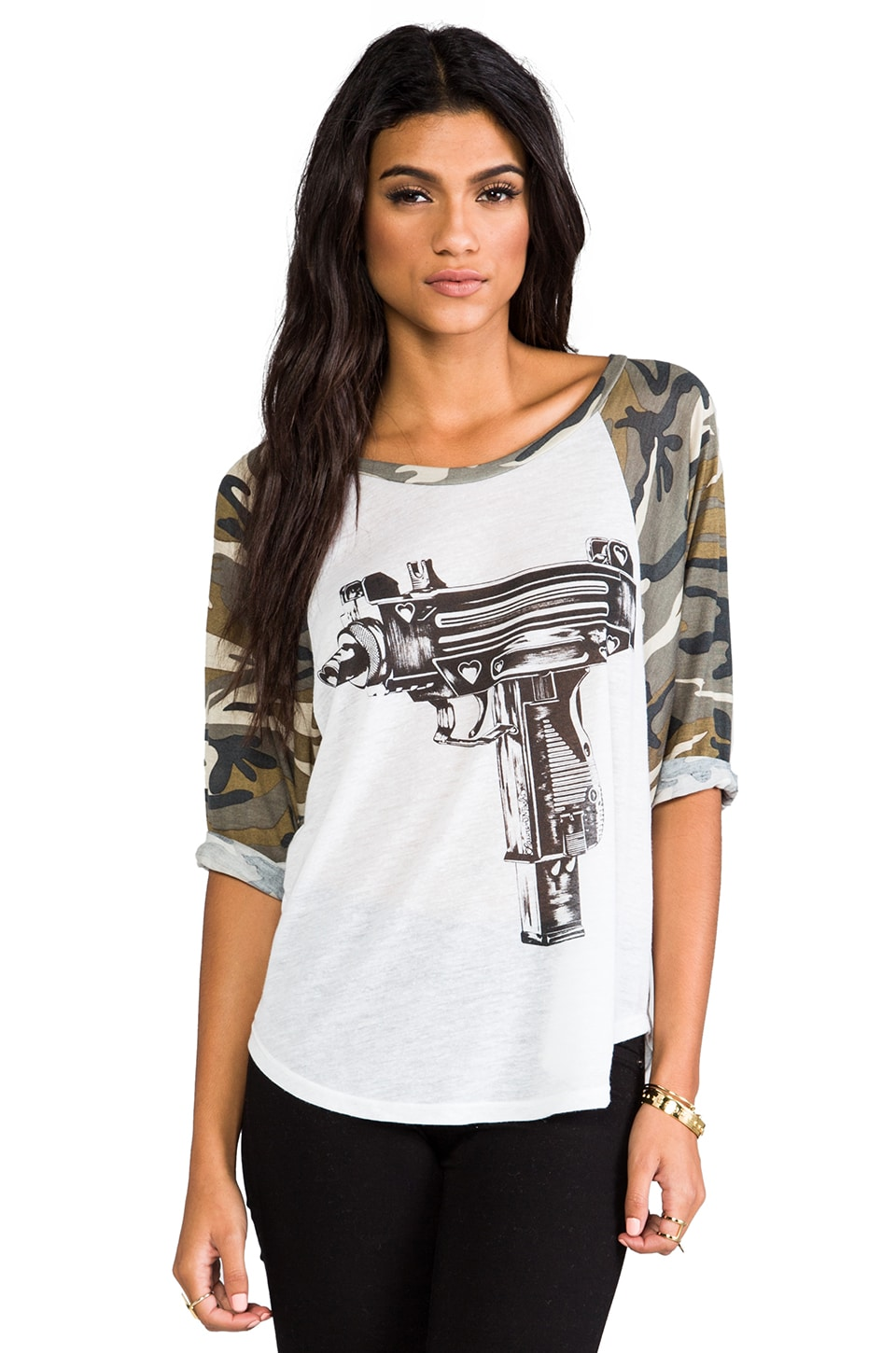 Lauren Moshi Drew Love Gun Baseball Raglan in White/Camo