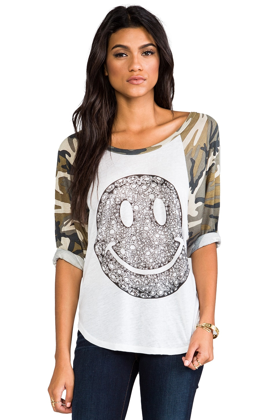 Lauren Moshi Drew Diamond Happyface Baseball Raglan in White/Camo