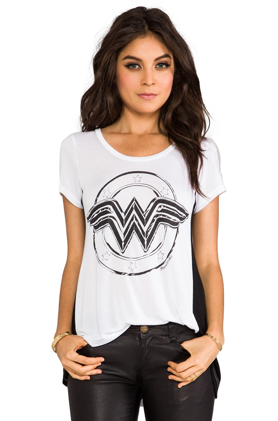 Lauren Moshi Betty Wonder Women Open Back Tee in White/Black