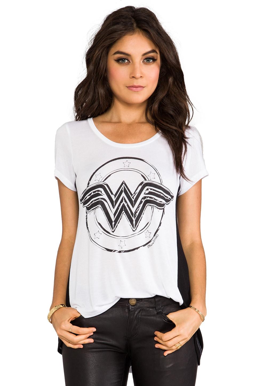 Lauren Moshi Betty Wonder Women Open Back Tee in White/Black