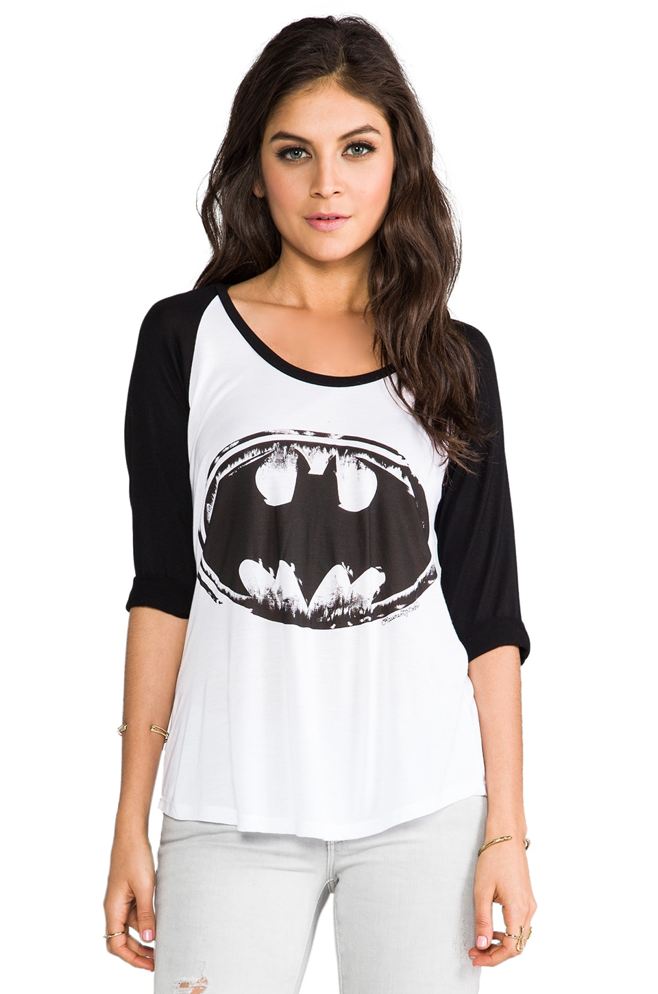 Lauren Moshi Frankie Batman Baseball Tee in White/Black