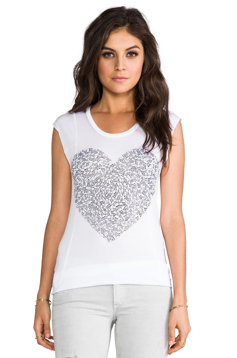 Lauren Moshi Tess Small Mini Skull Heart Tee in White