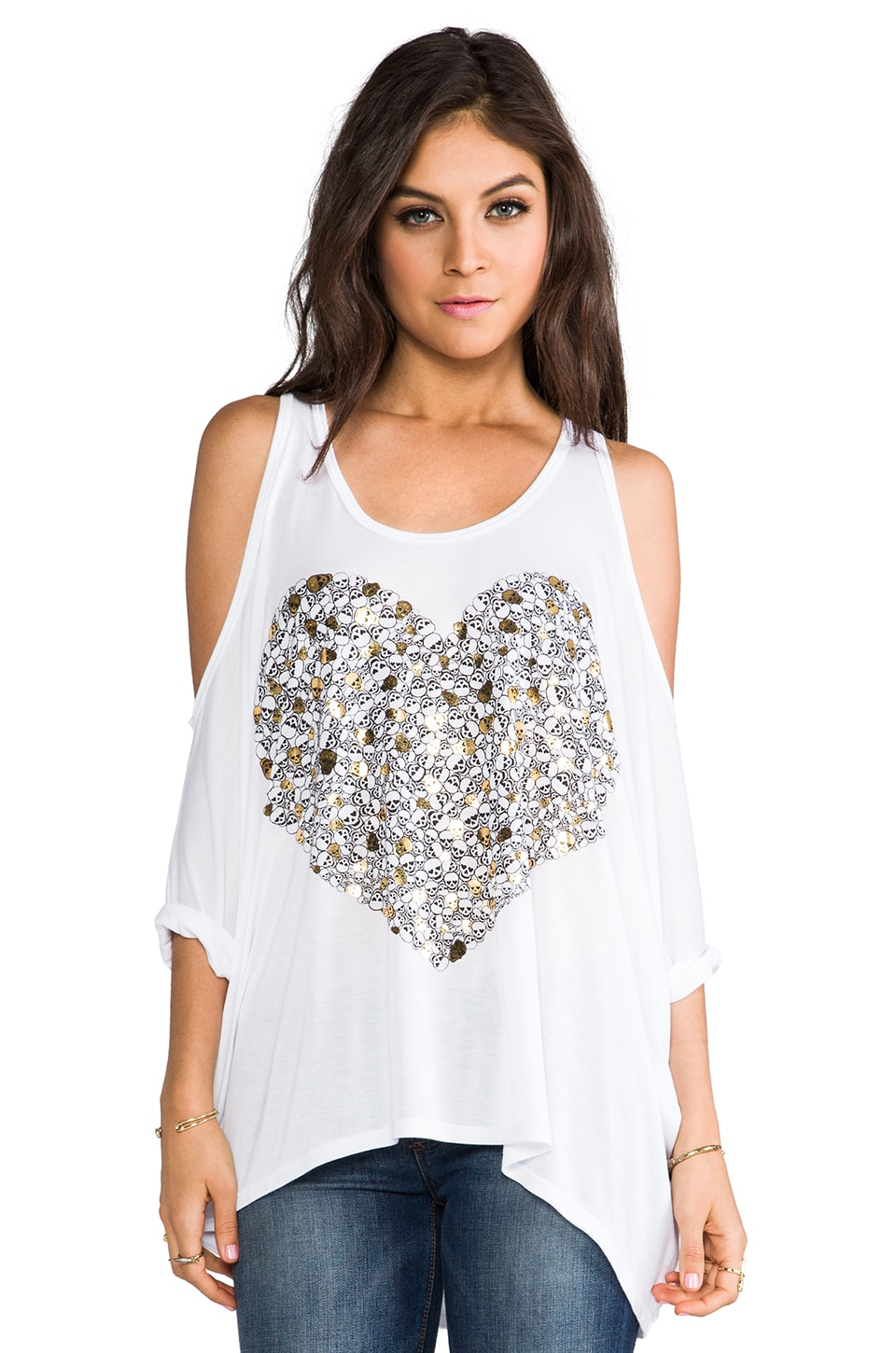 Lauren Moshi Macy Foil Mini Skull Heart Open Shoulder Tee in White