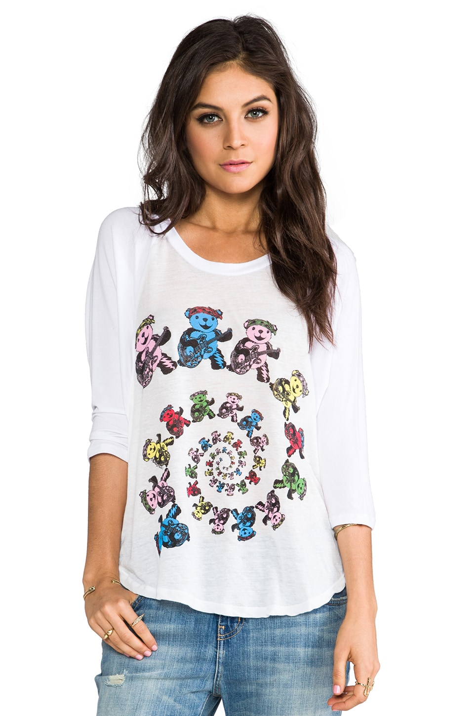 Lauren Moshi Drew Color Swirl Bears Raglan in White