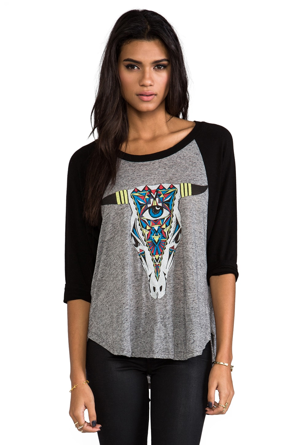 Lauren Moshi Drew Large Color Aztec Bull Raglan in Black