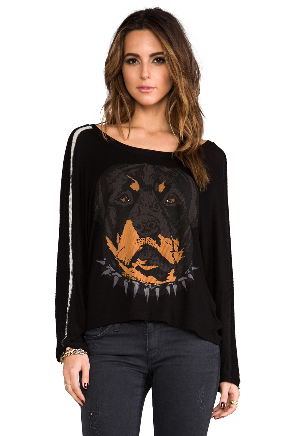 Lauren Moshi Nellie Large Rot Head Sweater in Black