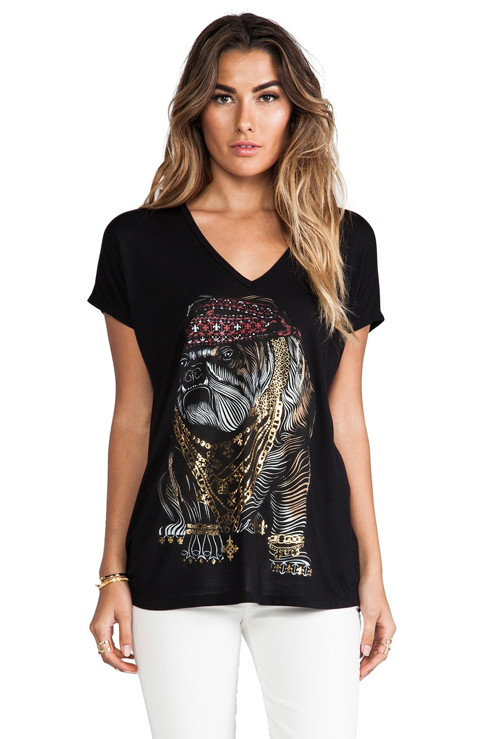 Lauren Moshi April Color Bulldog Oversized V-Neck Tee in Black